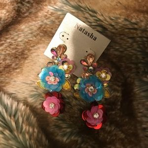 Bling floral fashion earrings